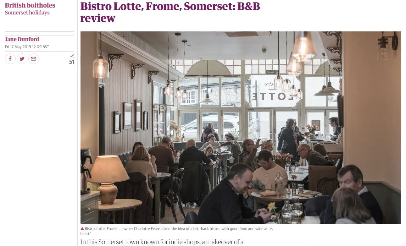 Bistro Lotte featured in The Guardian on line newspaper review for restaurant and guest house in Frome